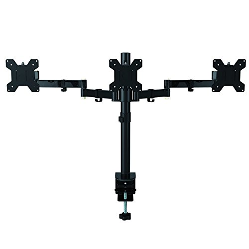 Fully Adjustable Triple Arm Three LCD LED Monitor Desk Stand Mount Bracket...