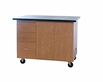 "Diversified Woodcrafts 4332KF Solid Oak Wood Mobile Instructor's Desk with Storage, Flat ChemGuard Top, 48"" Width x 36"" Height x 28"" Depth"
