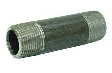 "Anvil 8700136107, Steel Pipe Fitting, Nipple, 1/8"" NPT Male x 1-1/2"" Length, Black Finish"