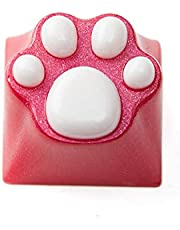 Gaming Keycaps cat Resin Keycaps for Cherry MX Swtiches (OEM R4) - Rose red cat/White