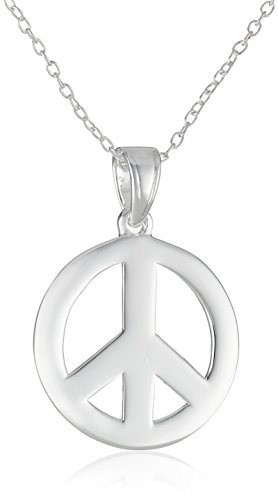 Sterling Silver Peace-Sign Pendant Necklace (Sign Sterling Necklace Silver Peace)