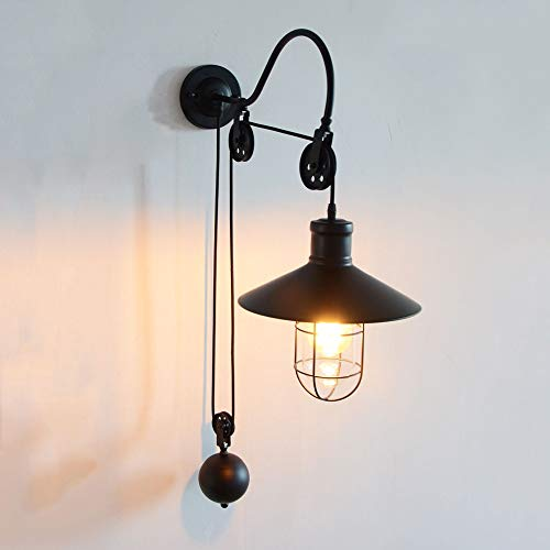 Brass 30' Accent Light - Wylolik Vintage Edison Wall Sconce Brushed Dark Hardwired Stainless Steel Steampunk Antique Wall Light Accent Lamp with E27 Base Loft Decoration Room Bedside Wall Light 30'' Iron Cage Fixture
