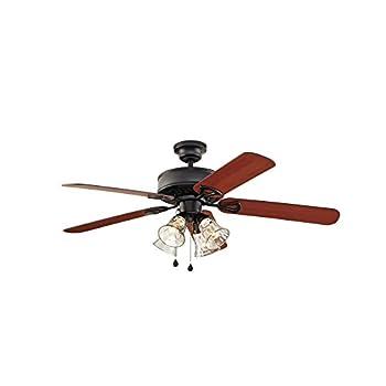 Harbor Breeze Springfield Ii 52-in Matte Black Downrod or Flush Mount Ceiling Fan with Light Kit