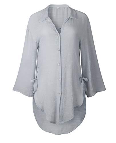 Longues Longue Tops Revers Gris Casual Blouses Manches Hauts Irregulier Femmes Shirts et Printemps Automne Tunique Chemises Mode Chemisiers XTqY8xOw