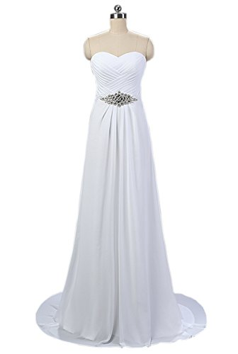 Nina White Strapless Beach Wedding Prom Bridal Chiffon Ruffle Dress...
