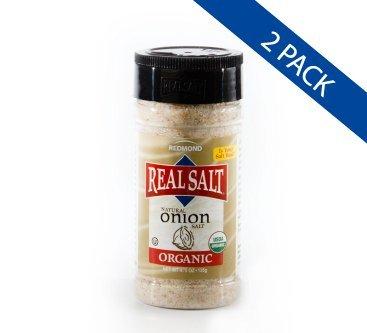 Redmond Real Sea Salt - Natural Unrefined Organic Gluten Free, Onion Salt 8.25 Ounce Shaker (2 Pack)