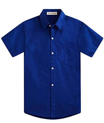 (Spring&Gege Boys' Short Sleeve Solid Formal Cotton Twill Dress Shirts Royal Blue 3-4 Years)