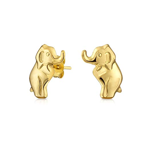 Minimalist Real 14K Yellow Gold Tiny Wise Safari Wildlife Lucky Elephant Stud Earrings For Women