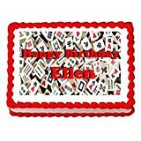 Price comparison product image Mahjong Game Cake Edible 1 / 2 Sheet Image Personalized Topper Birthday Party Favor