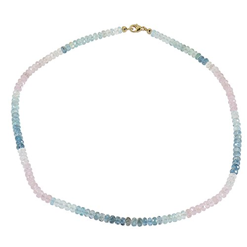 Sogni d'Oro Collier en or jaune véritable 585 (14 carats)avec pierres multicolores Béryl Aigue-marine Morganite