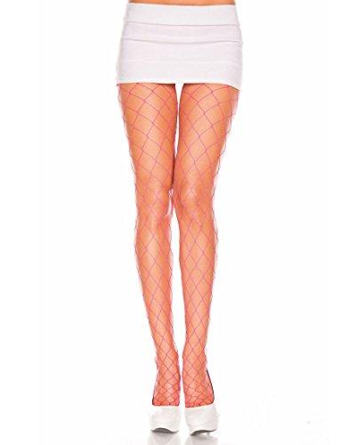 One Size HOT PINK Seamless BIG Diamond Net Pantyhose ()