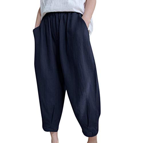Cotton Linen Solid Color Harem Pants Women Belt Pocket Nine Points Casual Pants - Cotton Belt Velour