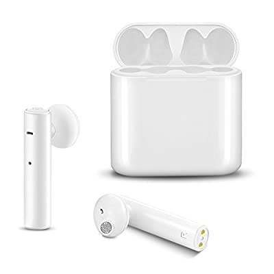 True Wireless Earbuds ICEtek Second Generation Bluetooth In-Ear Headphones & Charging Case for iPhone iPad Android Phones Devices White Sweat Proof for Sports