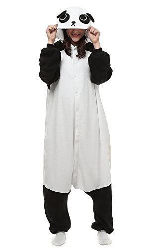 Men Try On Women's Halloween Costumes (Famycos Hooded Button Front Unisex Animal Costumes Pyjamas Onesie Halloween Black White Panda Adult-M)