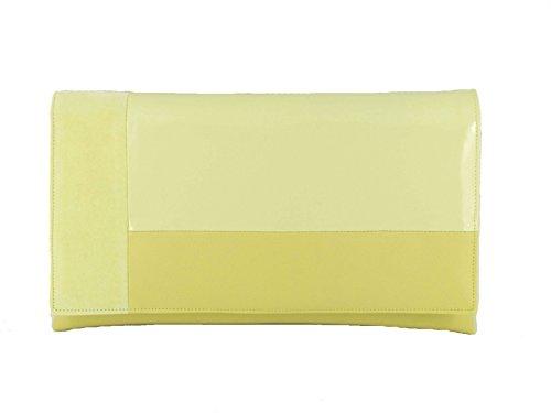 LONI Contrast Clutch Shoulder Bag Faux Leather Patent Suede Lemon Yellow