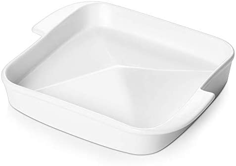 Dowan Serving Platters with Handles, Porcelain Serving Plates, Centrally Convex Design for Serving Different Food, Dishwasher Safe, 7.8 Inch Serving Tray for Snack Candy Snack Fruit Appetizer, White