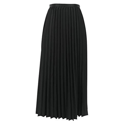 (TWGONE Pleated Midi Skirt High Waist Womens Solid Color Elasticated Waist Skirt(One Size,Black))