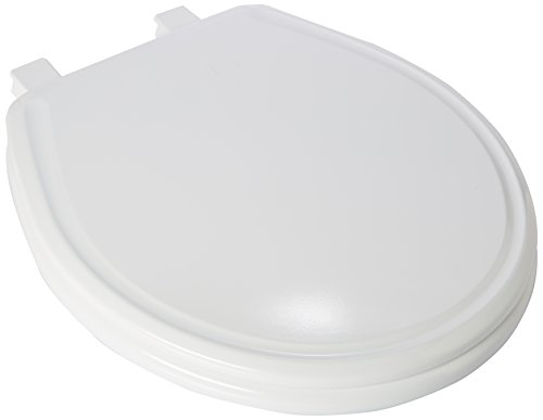 (Church 640E3 000 Residential Round Molded Wood Toilet Seat with Whisper Close, White)