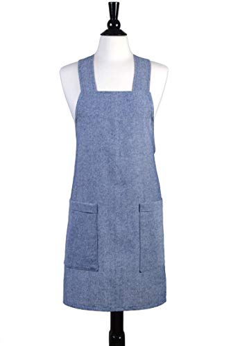 - Japanese Linen Crossback Apron - Denim Blue Yarn Dyed Womens Retro Crossover Pinafore - Vintage Style Kitchen Apron - Two Large Pockets - Personalized Options