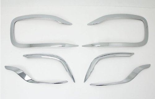 AUTOCLOVER C479 Chrome Fog Lamp Garnish Molding Trim Cover 4-pc Set For 2013 2014 Kia Rondo : All New Carens