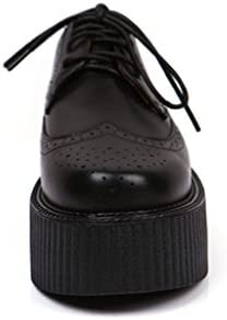 RoseG Femmes Mode Cuir Lacets Flache Plateforme Brogue Creepers