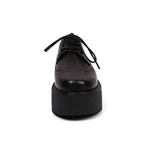Brogue Lacets Femmes Plateforme Flache Cuir Mode Creepers RoseG txwdAYqw