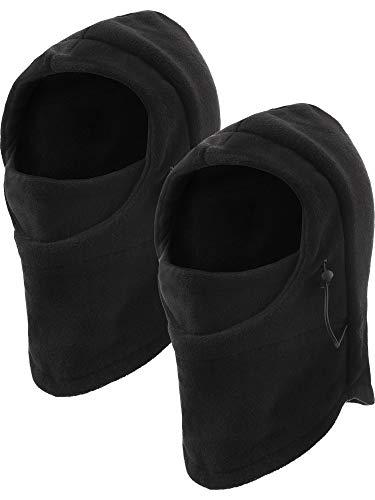 Jetec 2 Pieces Kids Ski Mask Balaclava Face Mask Windproof Neck Warmer Adjustable Full Face Cover Winter Warm Hat (Black)