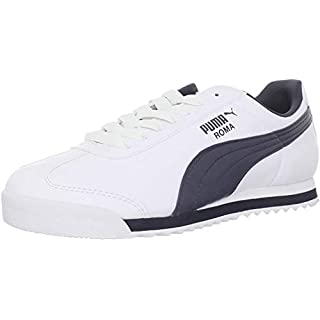 PUMA Men's Roma Basic Fashion Sneaker, White/New Navy - 4 D(M) US