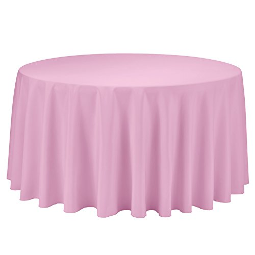 Remedios Round Tablecloth Solid Color Polyester Table Cloth for Bridal Shower Wedding Table - Wrinkle Free Dinner Tablecloth for Restaurant Party Banquet (Pink, 120 inch)]()