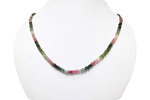 Watermelon Tourmaline Saucer Beads Necklace Strand with 925 Sterling Silver findings 16