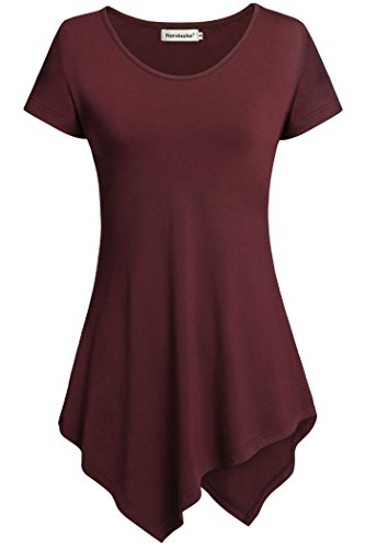 Womens Shirts,Nandashe Various Hem Tunics Top Short Sleeve Casual Blouses Wine M
