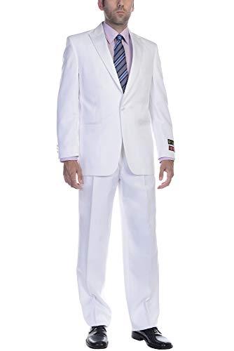 Satin Trim Tuxedo Trousers - P&L Mens Two Piece Tuxedo 2 Button Blazer & Trousers Suit for Prom or Wedding
