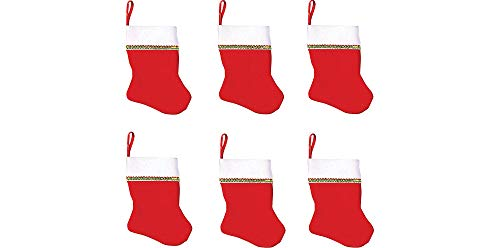 Santa Mini Felt Stockings, Value Pack, 6 Ct. | Chrismas Decoration
