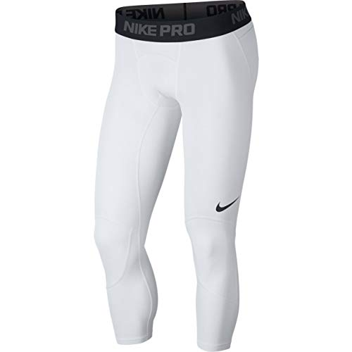 Nike Men's Pro 3/4 Basketball Tights White/Black Size Large