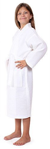 Indulge Premium Linen Girls Waffle Lightweight Party Robes and Flower Girl Bathrobe (Large, White)
