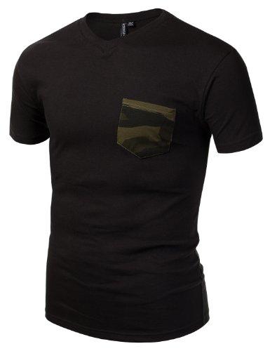 J.TOMSON Mens V-Neck Short Sleeve T-Shirt With Pocket BLACK OLIVE CAMO MEDIUM