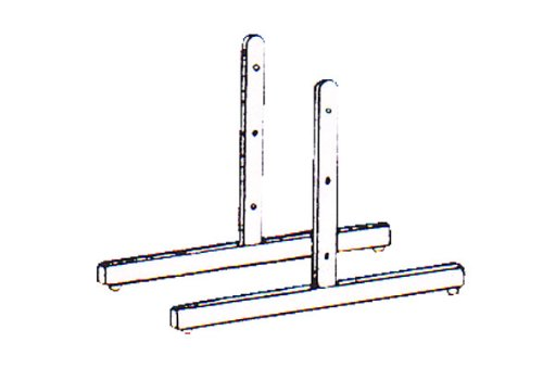 T-Shape Gridwall Panel Legs Display Set of 2 - Chrome - Work With Standard Grid Panels by The Competitive Store