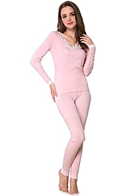 Godsen Women's Thermal Underwear Set Cotton Fabric Top & Bottom (L, Pink V neck)