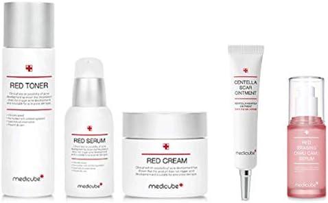 メディキューブ レッドライン 基礎化粧品 5点 セット (トナー + セラム +クリーム + センテラスカ軟膏 + カムカム セラム) Medicub Redline Basic 5 sets (Toner + Serum + Cream + Centellascar Ointment + Camu Camu Serum) [並行輸入品]