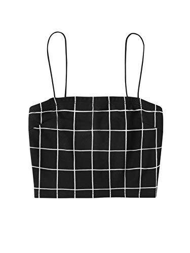 SheIn Women's Sexy Spaghetti Strap Sleeveless Leopard Print Crop Cami Tank Top Small Plaid