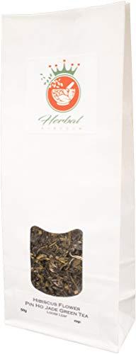 (Hibiscus Flower and Pin Ho Jade Green Tea Loose Leaf Herbal Tea (50g pack) )