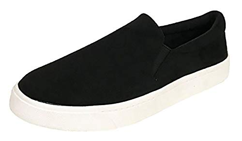 Suede Sneakers Sporty - SODA Reign Slip On Faux Suede Sneaker, Closed Toe w/Memory Foam Insole Reign(6, Black)