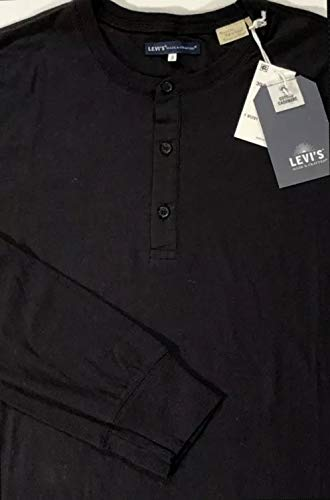 Cashmere Cotton Henley - Made & Crafted Men's Black L/S Cotton/Cashmere Henley Sport (Small)