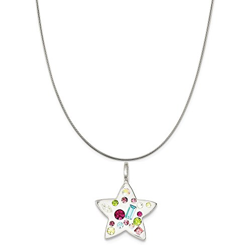 Collection Jewelstone - Noble Collections Sterling Silver Multi Stellux Crystal Star Pendant on a Sterling Silver Snake Chain Necklace, 18