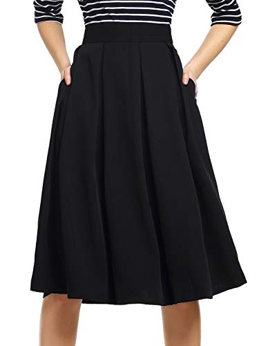 bfe19e8c8ba1ad Beluring Womens High Waisted Skater Skirts with Pockets Black Size 8 ...