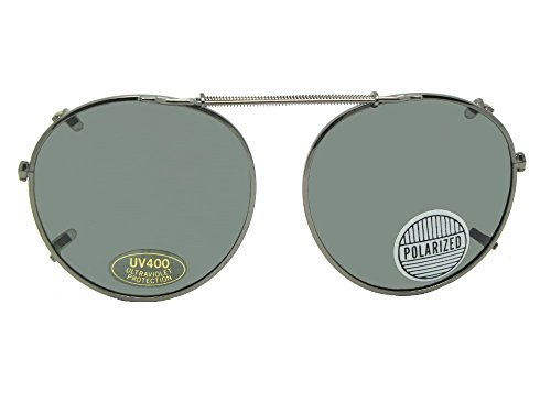 Round Polarized Clip On Sunglasses For Eyeglasses (Pewter Frame-Polarized Grayish Lenses, 50mm x - Eyeglasses Pewter