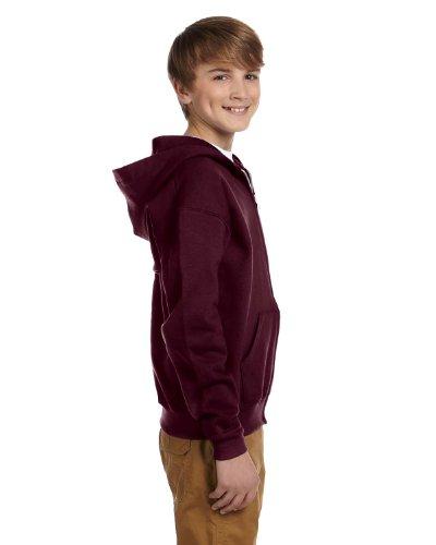 Maroon Hoodie Youth (Jerzees Youth NuBlend Full-Zip Hooded Sweatshirt, Maroon, Large)