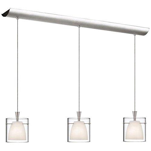 Dainolite 3 Light Satin (Dainolite Lighting DLSL309-34L-WH-SC Signature 3 Light Pendant, Satin Chrome)