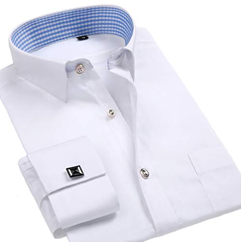 (Taobian Mens Dress Shirts French Cuff Long Sleeve Formal Slim Fit Shirts (Cufflink Included) White US M)