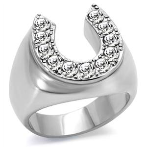 Men's Stainless Steel CZ Encrusted Horseshoe Ring,Size:10